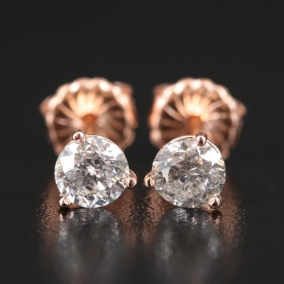 14K Rose Gold 1.18 CTW Diamond Martini Set Stud Earrings