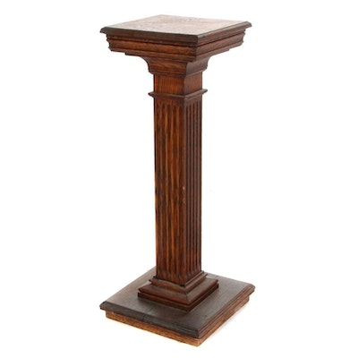Fluted Oak Columnar Pedestal or Plant Stand, Early 20th Century