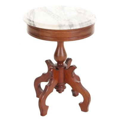 Victorian Style Mahogany and Marble Top Side Table