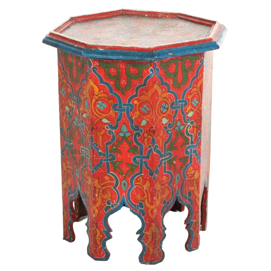 Hand-Painted Wood Tabouret