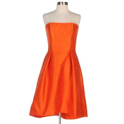 Alfred Sung Dupioni Strapless Semi High-Low Dress in Mandarin