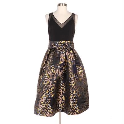 Ted Baker Dotalle Kyoto Garden Metallic Jacquard Sleeveless Midi Dress
