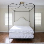 Contemporary Wrought Iron Full Size Canopy Bed with Upholstered Headboard