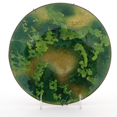 Abstract Enameled Copper Bowl, Mid to Late 20th Century