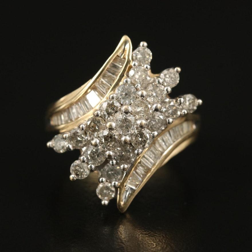 10K 1.90 CTW Diamond Cluster Bypass Ring