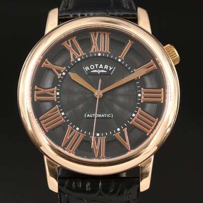 Rotary Rose Gold Tone Stainless Steel Automatic Wristwatch