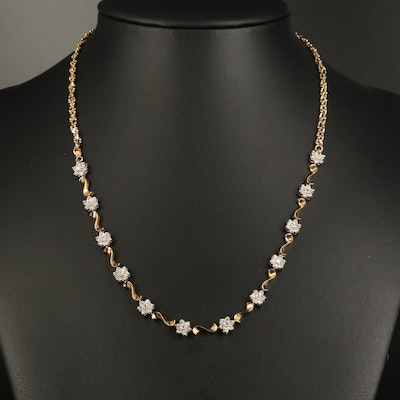 14K Two-Tone Diamond Floral Necklace