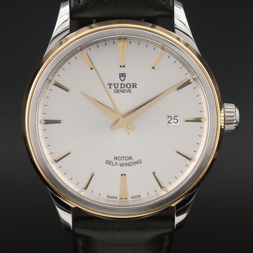 Tudor Style 18K Yellow Gold and Stainless Steel Automatic Wristwatch