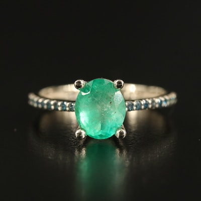 14K 1.53 CT Emerald and Diamond Ring