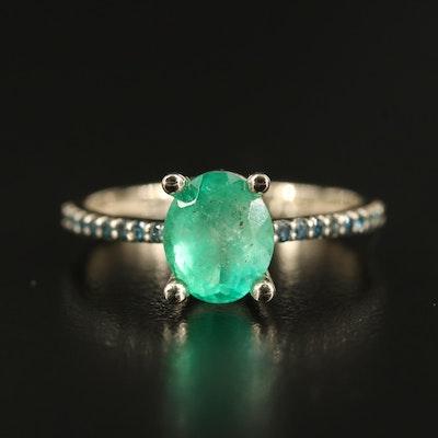 14K 1.53 CT Emerald and Diamond Ring