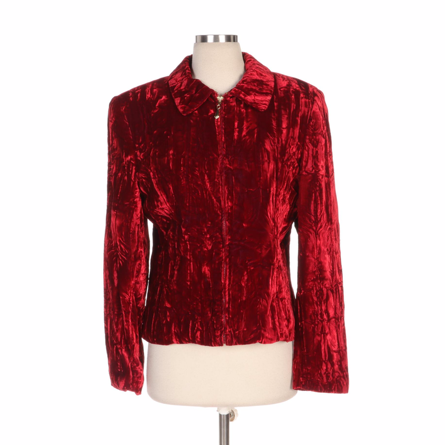 Caché Crushed Red Velvet Jacket