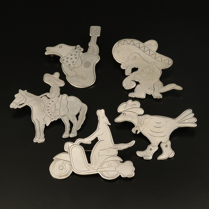 Western Don Lucas Sterling Animal Brooches
