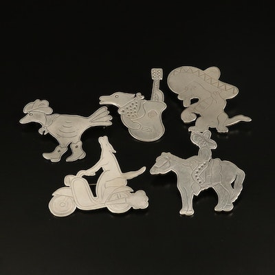 Western Don Lucas Sterling Animal Themed Brooches