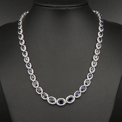 14K Sapphire and 5.14 CTW Diamond Rivière