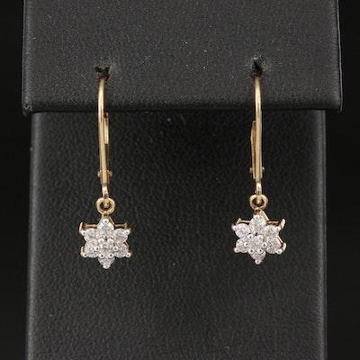 14K Cubic Zirconia Star Dangle Earrings