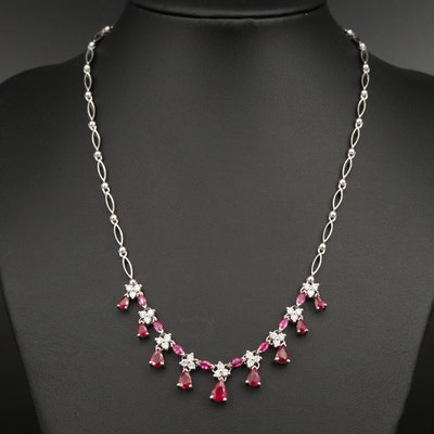 EFFY 14K Ruby and Diamond Drop Necklace