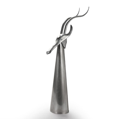 Curtis Jeré Brutalist Style Metal Sculpture of Antelope, 1978