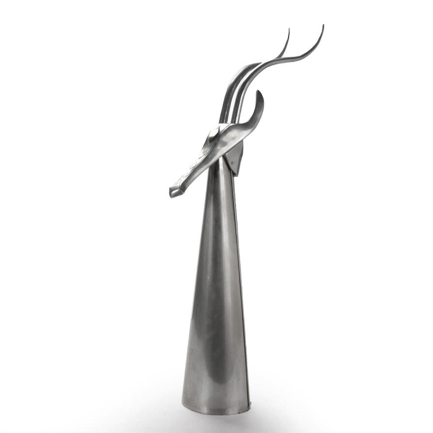 Curtis Jeré Brutalist Style Metal Sculpture of Antelope, 1978