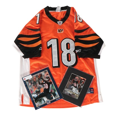 A.J. Green Replica Jersey with Chris Felix and other Photo Prints, One Signed