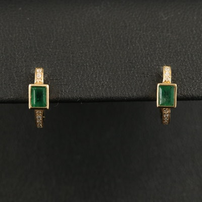 18K Emerald and Diamond Huggie Earrings