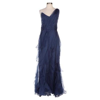 Badgley Mischka Collection Navy Organza Ruffled One-Shoulder Gown