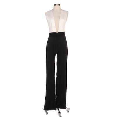 Galvan London Tuxedo Plunge Sleeveless Jumpsuit