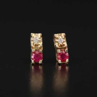 14K Ruby and Diamond Drop Earrings
