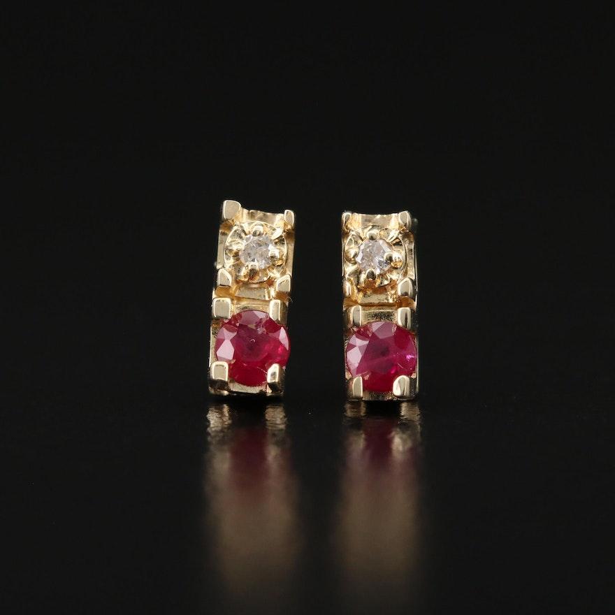 14K Ruby and Diamond Drop Earrings
