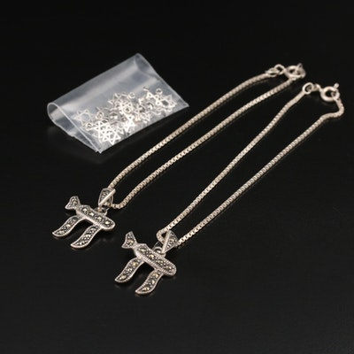 Sterling Marcasite Chai Bracelets and Star of David Charms