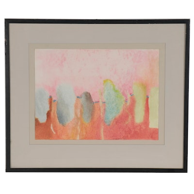 "Elizabeth ""Beth"" Hertz Abstract Synchromy Watercolor Painting, 1980"