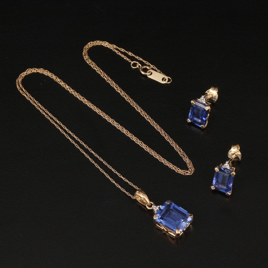 10K Sapphire and Diamond Stud Earrings and Necklace Set