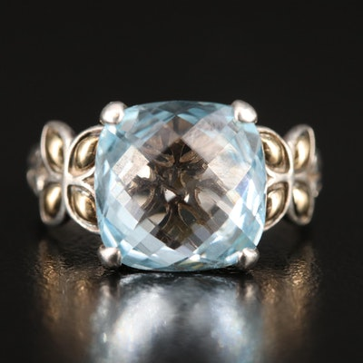John Hardy Sterling Topaz Ring with 18K Accents