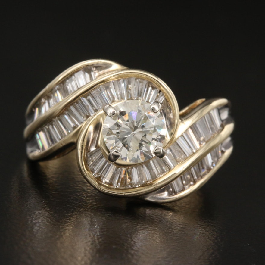 14K 1.65 CTW Diamond Swirl Ring