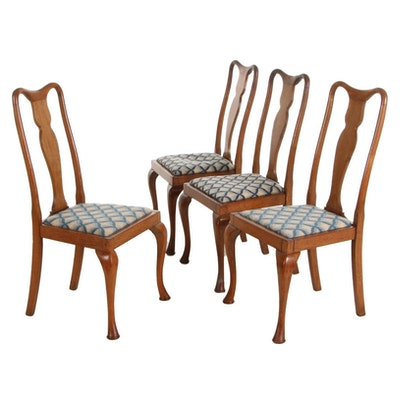 Queen Anne Style Oak Dining Chairs, Set of Four