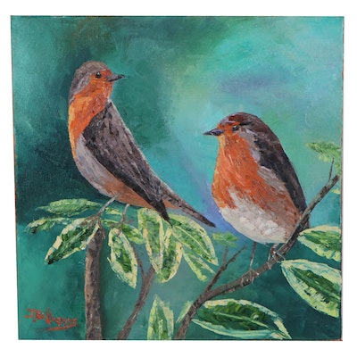 "James Baldoumas Oil Painting ""Pair of Robins,"" 2021"