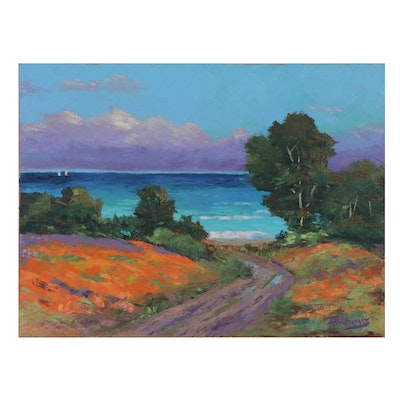 "James Baldoumas Landscape Oil Painting ""Ocean View,"" 2021"