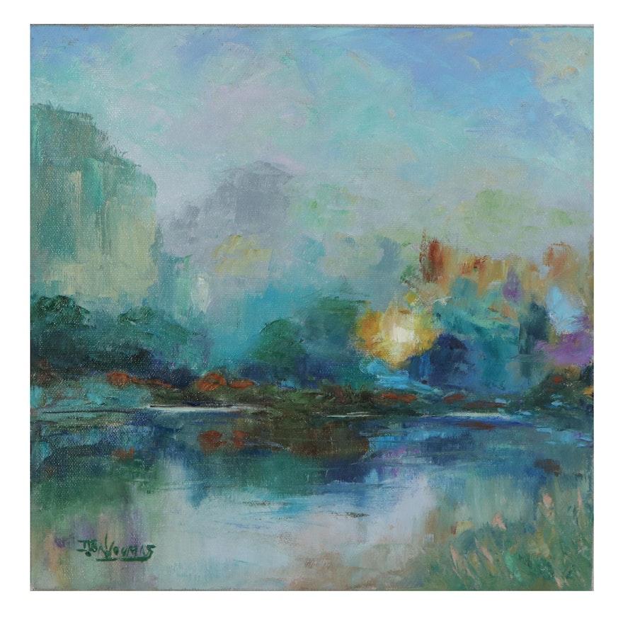 "James Baldoumas Landscape Oil Painting ""Pond Sunset,"" 2021"