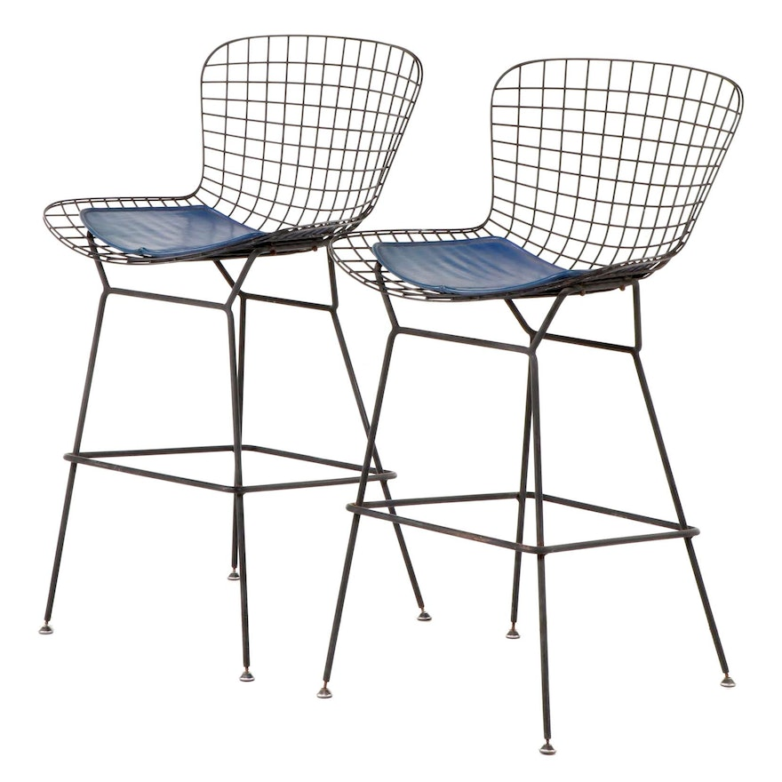 Pair of Black Metal Wire Counter Height Barstools in the Style of Harry Bertoia