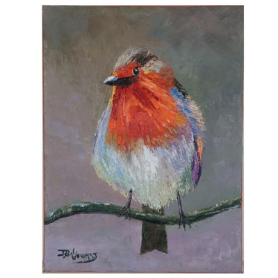 """Jame Baldoumas Oil Painting of Bird """"Blue Bride,"""" 2021"""