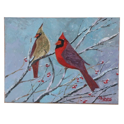 "James Baldouman Oil Painting ""Cardinal Pair,"" 2021"
