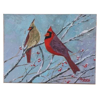 """James Baldouman Oil Painting """"Cardinal Pair,"""" 2021"""