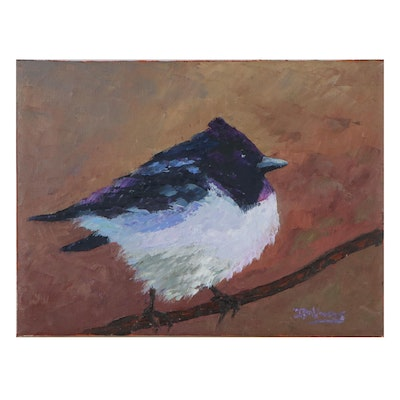 "James Baldoumas Oil Painting of Bird ""Magpie-Robin,"" 2021"