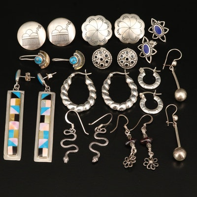 Sterling Earrings Including Turquoise, 800 Silver and Snakes