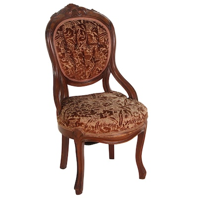 Victorian Carved Walnut Slipper Chair, Mid to Late 19th Century