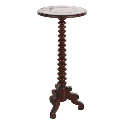 Victorian Turned Walnut Pedestal or Plant Stand, Late 19th Century