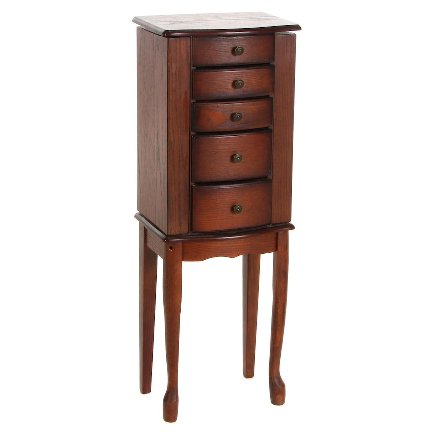 Lift-Lid Oak-Stained Jewelry Armoire