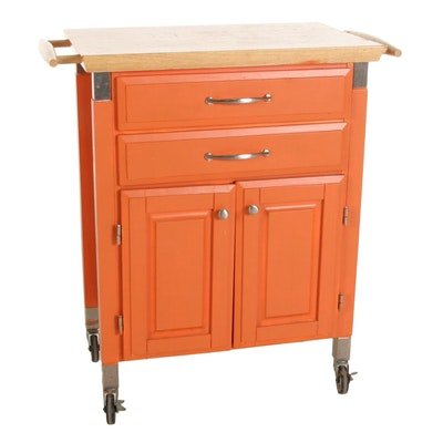 Orange-Painted and Maple Top Kitchen Island Storage Cart