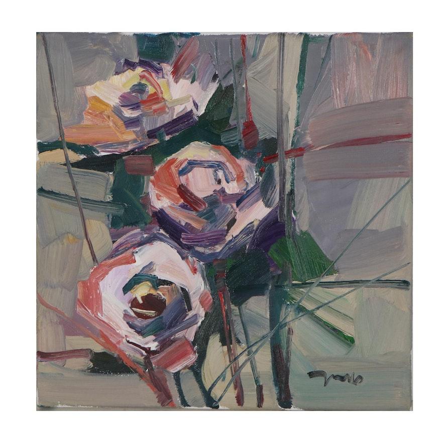 "Jose Trujillo Oil Painting ""The Heart of the Garden,"" 2021"