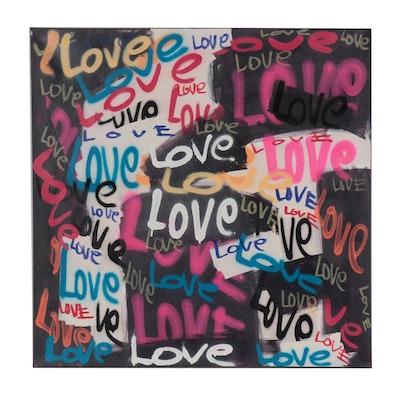 R.C. Raynor Grafitti Style Mixed Media Painting, 21st Century
