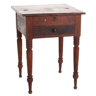 American Primitive Wood Lift-Top Two-Drawer Sewing Stand, Mid-19th Century